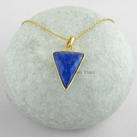 Blue Lapis Triangle Faceted 20x24mm Gemstone Micron Gold Plated 925 Sterling Silver Pendant Necklace Jewelry #9065