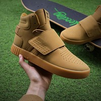 Adidas Tubular Invader Strap Running Shoes Kanye West 750 Wheat Color Boost