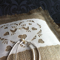 Burlap Ring Bearer Pillow, with laser cut love bird band and freshwater pearls