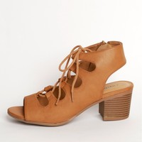 Uptown Girl Lace Up Heel Light Tan