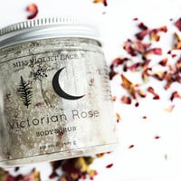 Vegan Body Scrub. Rose Sugar Scrub for All Skin Types. Exfoliating Rose Sugar Body Scrub with Jojoba Oil and Almond Oil // Victorian Rose
