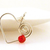 """Sterling Silver Open Heart Necklace with Red Swarovski Crystal Bead on 18"""" Long Chain"""