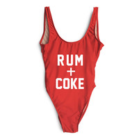 RUM + COKE SWIMSUIT Women Summer Sexy bodysuit Low back High-cut bathing suits one piece Swimwear rompers jumpsuit Swim Suit