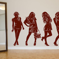 Fashion Models Decal, Trendy Wall Decal, Girls Room Decal, Store Front Decal, Models Wall Decal, Shopping Girls Decal, Silhouette Art  nm091