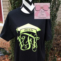 Monogram Class of 2016 or 2017 T-Shirt Monogram Graduation TShirt Glitter T-Shirt Graduation Cap Any Class Year Monogrammed Gifts