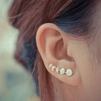 Trendy Elegant Moon Phases Ear Stud Half Round Change Vine Earring Climber For Women