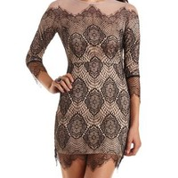 Mesh & Lace Bodycon Dress by Charlotte Russe - Nude Combo