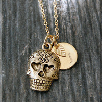 Gold Sugar Skull Charm Necklace, Initial Charm Necklace, Personalized Necklace, Day of the Dead Charm, Sugar Skull Pendant, Skull Jewelry