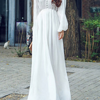 White Buttoned V-Neck Lantern Sleeve Sheer Maxi Dress