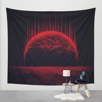 Lost Home! Colosal Future Sci-Fi Deep Space Scene in diabolic Red Wall Tapestry by Badbugs_art | Society6