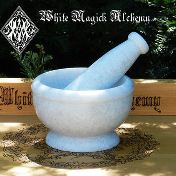 White Witches Mortar and Pestle Set Large