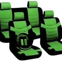 """Two Tone PU Synthetic Leather Seat Covers Set 11pc Black & Green Accent """"Superior"""" 2 Front Bucket - Bench - Steering Wheel - Seat Belt Pads & BONUS DETAILING WASH MITT"""