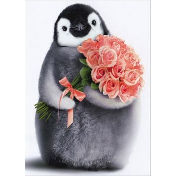 Birthday Greeting Card  - Penguin with Flowers