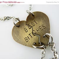 ON SALE Best Bitches, Bracelet , Broken Heart, personalized jewelry , hand stamped , Set of TWO, Jewelry , Puzzle Pieces