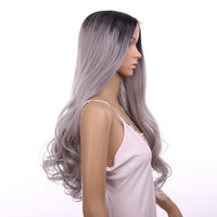 """Synthetic Lace Front Wig Big wave Curly 18"""" Ombre Tone Color Black&Grey Heat Resistant Hair Wigs hair extensions"""