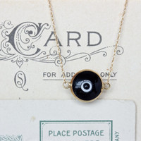 Tiny Evil Eye Necklace | Best Friends Necklace | Minimal Black Jewelry | Solid 14k Yellow Gold Charm Necklace | Stacked Necklace