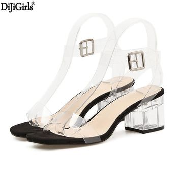 11cm Or 6cm Transparent Heels Women's Summer Shoes Sexy Transparent Gladiator Sandals Fashion Clear Heels For Women Shoes