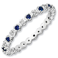 Stackable Expressions™ Lab-Created Blue Sapphire and Diamond Accent Eternity-Style Ring in Sterling Silver