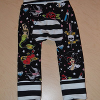 Maxaloones grow with me cloth diaper friendly pants size 1 tattoo retro stripes punk boy girl rock