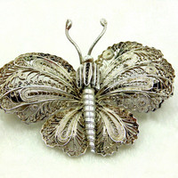 Vintage Mexican Butterfly Brooch 1920s Era Possibly Coin Silver Coiled Wire
