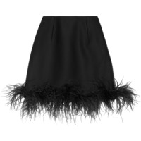 Lanvin - Feather-trimmed wool-blend mini skirt
