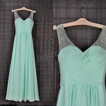 Mint Beaded Long Bridesmaid Dresses, Simple Prom Dress, Party Dresses,Evening Dresses,Wedding Party Dresses, Bridesmaid Dresses