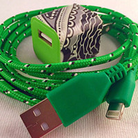 iPhone charger and USB wall plug, paisley flowers, green charger cord, compatible with iPhone 5s, iPhone 5c, iPhone 6, iPhone 6 Plus, 6 feet
