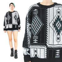 80s 90s Aztec Sweater Slouchy Geometric Sweater Diamond Print Mens Sweater Green Grey Black Winter Pullover Unisex Christmas Jumper (M/L)