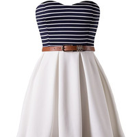 Meet Me in St. Thomas Navy & White Sweetheart Dress *MADE IN USA!*