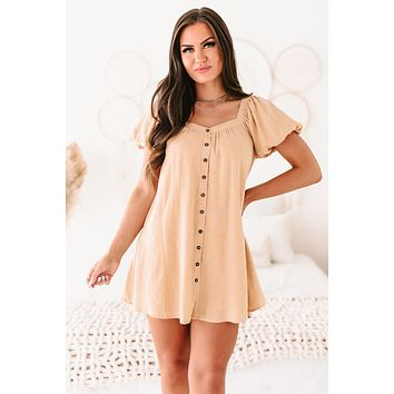 Afternoon Air Puff Sleeve Button-Front Mini Dress (Mustard)