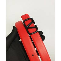 Valentino hot seller of plain color casual belts and fashionable belts for men and women Red belt #3