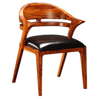 Salerno Leather Dining Chair, Black, Arm Chairs