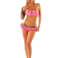 Folter Womens/Juniors Pink SWEET TOOTH Pleated Micro Mini Skirt