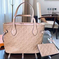 LV Fashion New Monogram Print Leather Shoulder Bag Handbag Two Piece Suit Apricot