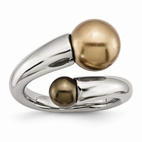 Stainless Steel Champagne & Brown Simulated Pearl Ring: RingSize: 7