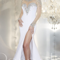 Long Open Back Gown with Long Sleeves by Panoply