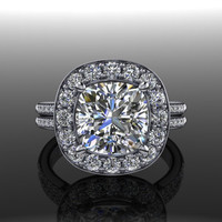 Forever Brilliant Moissanite Halo Engagement Ring Cushion Cut 2.98 CTW