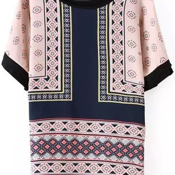 Pink and Blue Short Sleeve Geometric Print Blouse