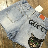 Gucci Fashion Woman Casual Letter Print Animal Embroidered Denim Shorts Hot Pants(4-Style)
