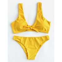 Yellow Push Up Bikini Set