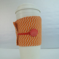 Cup Cozy sleeve with vintage button, great used on coffee cup, pop can or beer can