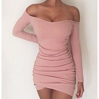 Women Long Sleeve Sexy Slim One Line Collar Off Shoulder Pleated Irregular Dress Hip Wrap Skirt