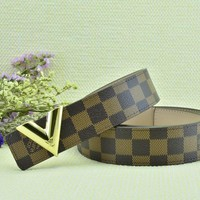 Cheap Louis Vuitton Woman Men Fashion Smooth Buckle Belt Leather Belt for sale q_2291738334_243