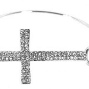 2 Pieces of Silvertone Iced Out Cross Bangle Bracelet