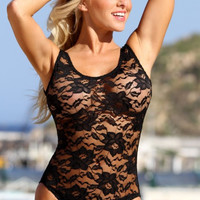 Sheer French Lace 1-PC Swimsuit