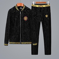 Versace Trending Women Men Stylish Zipper Sweater Top Pants Trousers Set Two-Piece Sportswear Black I-BJQSFS