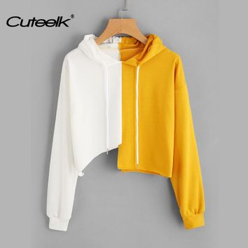 Cuteelk Womens Contrasting Color Drawstring Pullover Long Sleeve Hoodies Female Sexy Irregular Hem White and Yellow Short Jumper