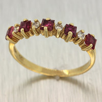 1980s Vintage Estate 14k Solid Yellow Gold .08ctw Diamond .20ctw Ruby Band Ring
