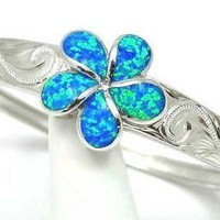 INLAY OPAL HAWAIIAN 23MM PLUMERIA BANGLE SILVER SCROLL