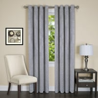 """Lorraine Set of 2 Room Darkening Energy Efficient Blackout Curtain Panels (52"""" x 84"""") with 8 Grommets - Silver"""